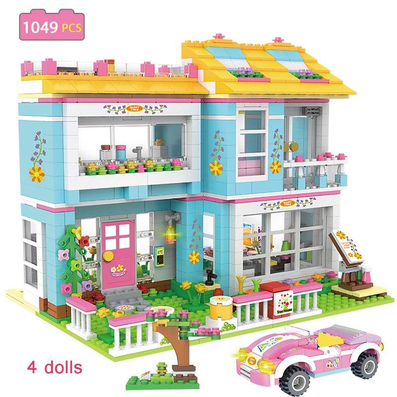 1049pcs Friends Building Blocks City Supermarket Friendship Family House City Hair Salon Stacking Bricks Toys for Children
